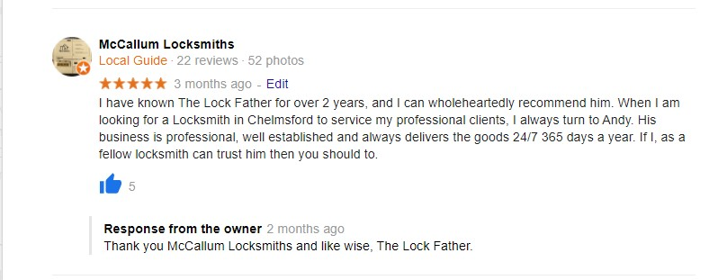 a 5 star review for the best locksmith in Grays